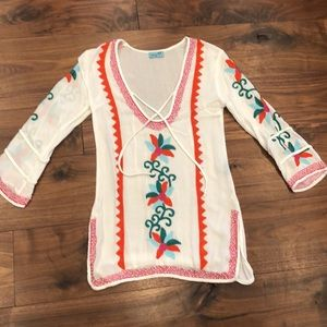 LeTarte white muslin embroidered tunic beaded.